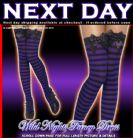 HALLOWEEN FANCY DRESS # BLACK / PURPLE STRIPED STOCKINGS WITH BOW
